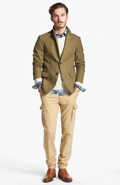 Gant Rugger Blazer, Crewneck Sweater, Plaid Shirt & Cargo Pants | Nordstrom