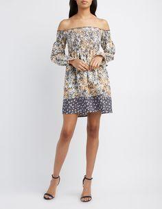 Floral Smocked Off-The-Shoulder Dress | Charlotte Russe
