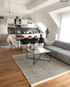 Handgewebter Wollteppich Asko in Schwarz-Creme Modern vibes! Every detail is just right in this open living room. Nordic Living Room, Bed In Living Room, Home Living, Carpet Dining Room, Family Room Decorating, Comfortable Sofa, Dining Table Chairs, Chair Design, Living Room Designs