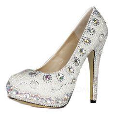 Lackleder Stöckel Absatz Absatzschuhe Plateauschuh Geschlossene Zehe mit Strass Nachahmungen von Perlen Schuhe (085026627)