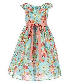Laura Ashley Little Girls 2T-6X Floral Ruffle Neck Dress
