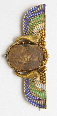 Egyptian Revival gold enamel and ancient scarab brooch, circa 1880