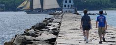 The Rockland Breakwater and the original U.S. Coast Guard Station and Light House; now a museum  -  sth)