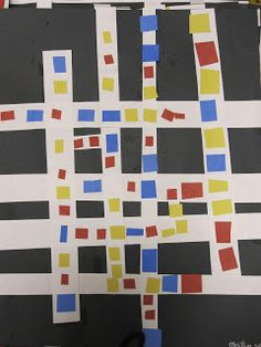 Students in Kindergarten had previously worked with vertical and horizontal lines. We continued those lines right into a Mondrian style p...