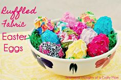Ruffled Fabric Easter Eggs ~ aren't these cute?  All you need are some plastic Easter eggs, hot glue and some fabric scraps!  GREAT for decorating around the house.