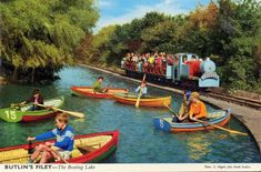 Butlins Filey - The Boating Lake & Train (postcard, late Butlins Holidays, Boating Holidays, Sailboat Living, Disused Stations, British Seaside, Great British, Vintage Holiday, Vintage Postcards, Vintage Images