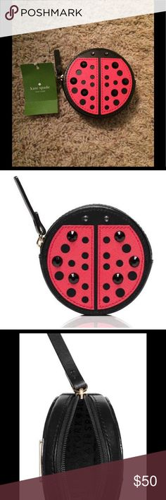 """Kate Spade Turn Over a New Leaf Ladybug Coin Purse MATERIAL -smooth leather with crosshatched leather trim -capital kate jacquard lining FEATURES -coin purse with zip top closure -gold staple kate spade new york signature style # wlru2457  3.5""""h x 3.5""""w x 1.2""""d kate spade Bags Clutches & Wristlets"""