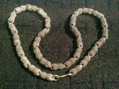 """antique? heavy beaded link sterling silver choker 15"""" necklace 62.1 grams"""