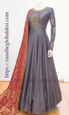 Product InformationFabric : silk soft silk gown with resham embroidery georgette dupatta and legging Gown length 59 inch Note: Color may slightly vary due to digital photography. Please call/whatsapp us at 407 7419 for any query Party Wear Indian Dresses, Pakistani Fashion Party Wear, Indian Fashion Dresses, Frock Fashion, Indian Gowns Dresses, Dress Indian Style, Pakistani Dress Design, Indian Designer Outfits, Pakistani Dresses