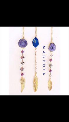 Cadenitas con geodas, ágatas y cristales en chapa de oro de 22k. Llénate de buenas vibras con estas hermosas piezas! Hecho en México!