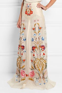 Temperley London | Toledo floral-embroidered silk-blend organza maxi skirt