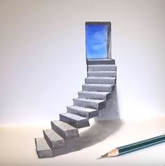 Drawings is an amazing form of art, where the pencil drawings seem to literally jump off the page. Most artists use graphite pencils for creating the look. Easy drawings are usually small Some Easy Drawings, Drawings On Lined Paper, Easy 3d Drawing, 3d Art Drawing, Realistic Pencil Drawings, Cool Drawings, Stair Drawing, Illusion Kunst, Illusion Drawings