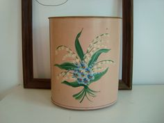 Vintage Blush Pink Metal Trash Can WasteBasket Hand by Vintiquer, $14.00