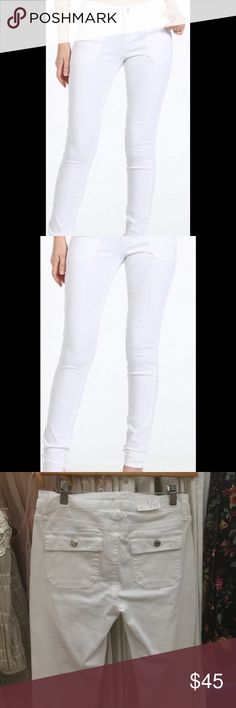 White stretch Jean White stretch denim skinny with cargo style back pockets.  Everyone has really liked the fit. Celebrity Pink Jeans Skinny
