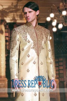 Style DRM1084, Product code: DRM1084, by www.dressrepublic.com - Keywords: Khawar Iqbal Designer Sherwani Collection 2013, Latest Mens Bridegroom Sherwani 2013 Collection