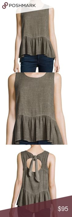 Sleeveless Peplum Top, Graphite BRAND NEW  Amadi woven top. Square neckline; self-tie cutout at back. Sleeveless. Peplum hem. Relaxed silhouette. Rayon/linen. Hand wash. Made in USA.  Originally $158 from Neiman Marcus Amadi Tops Blouses