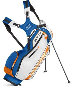 Sun Mountain Swift Stand Bag is lightweight, easy to carry and easy to use.� Sun Mountain has combined these elements in the Swift.��FEATURES:� weighs three pounds * the E-Z Fit Dual Strap System is easy to adjust, provides a balanced carry and is easy to get on and off * the bag height is 32.5� to fit junior clubs * pockets include a full-length apparel pocket and a water bottle pouch * includes a matching rainhood�Top: 8.5�, 3-Way�Pockets: 5Strap: E-Z Fit� Dual Strap System