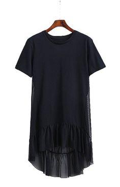 Trendy-Road-Style-Shop-Online-Woman-Fashion-Street-dress-blouse-ruffles-transparent-long-shortsleeve-black