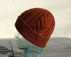 Knit Cable Hat, Burnt Orange Hat, Orange Brown Beanie, Slouchy Winter Hat, Wool Silk Hat, Mens Womens Teen Cable Hat, Ski Hat, Snow Hat by BaySeaKnits on Etsy
