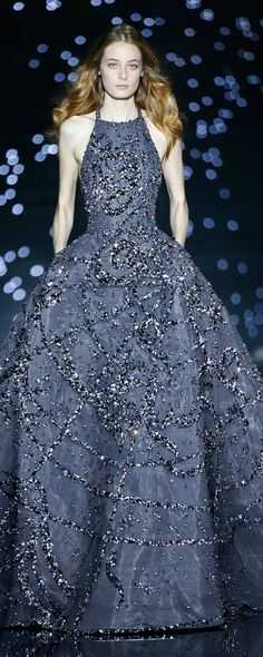 Fall 2015 Couture Zuhair Murad Blue Beaded Evening Gown // Pinned by Dauphine Magazine x Castlefield - Curated by Castlefield Bridal Company & Branding Atelier and delivering the ultimate experience for the haute couture connoisseur! Couture Mode, Couture Fashion, Runway Fashion, Fashion Show, Fashion Design, Live Fashion, Fashion News, Zuhair Murad, Beautiful Gowns