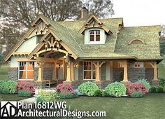 Plan 16812WG: Rustic Look with Detached Garage
