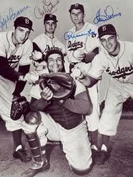 Brooklyn Dodgers pitching staff Ralph Branca, Carl Erskine, Preacher Roe