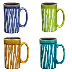 AmazonSmile: Mug Large Coffee Mugs Ceramic Coffee and Tea Cup with Handle - Gorgeous Artistic Unique Design 14 oz (Set of 4 Assorted Colors) Dishwasher Safe - Kitchen Drinkware Set Gift and Home Decor: Kitchen & Dining Best Coffee Mugs, Large Coffee Mugs, Glass Coffee Mugs, Coffee Mug Sets, Mugs Set, Gift Mugs, Gifts In A Mug, Stainless Steel Coffee Mugs, Cool Mugs