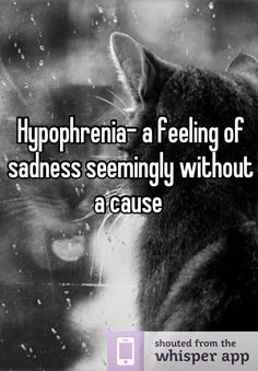 Hypophrenia- a feeling of sadness seemingly without a cause