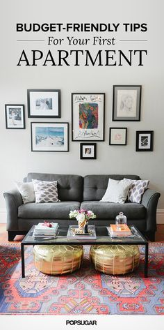 Living room with gray sofa, gallery wall, and gold poufs   Affordable Decor
