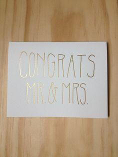 Congrats Gold/Silver/Copper Foil Wedding Card