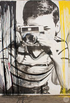 Street art hehe cute looks like a banksy to me but i am for Mural by mr brainwash