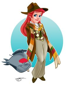 """Ariel as Four. """"Artist Lar deSouza even made Flounder into K-9 but made sure to put a stipulation on his tumblr post, 'Don't get excited for a series though. I'm exhausted just by the thought of doing a dozen more Princess Who's!' Pretty Please!"""" via The Mary Sue (Though I would have done Ariel as 11 - he wanted to be ginger - and Belle as 4, with a footstool K-9)"""