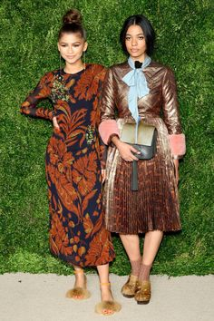Zendaya in a Thakoon dress and Brother Vellies shoes and Aurora James in Brother Vellies shoes