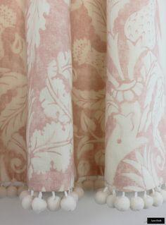 Custom Drapes by Lynn Chalk in Schumacher Mary McDonald Villa De Medici with Samuel and Sons Pom Pom Trim in Whipped Cream