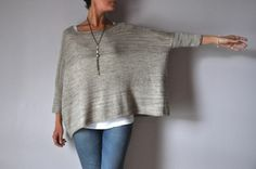 Ravelry Ravelry: Boxy pattern by Joji Locatelli. - Boxy is a very simple modern sweater, with a very wide body and skinny sleeves. Worked with a lightweight yarn it is very flattering, drapey and stylish! Sweater Knitting Patterns, Knit Patterns, Hand Knitting, Knitting Machine, Knitted Poncho, How To Purl Knit, Pulls, Look Fashion, Diy Clothes