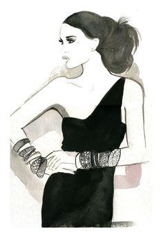 Halston Girl, #watercolor #fashion #illustration