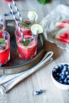 Watermelon Blueberry Mojitos