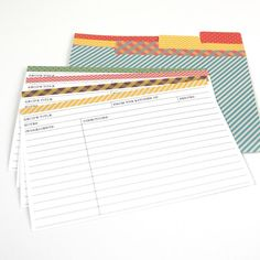 """Recipe Card Size: 6"""" x 4"""". These printable recipe cards also come with printable dividers that you can put in your recipe box. There are four different designs in this set, and they can be filled out before or after printing.The best part: these Recipe Cards are editable! Type out your recipes in Adobe Acrobat so you don't have to hand write them.This item includes 5 pages, 2 recipe cards per page in 4 colors, front and back and 4 different divider designs. This is a Digital Ite..."""