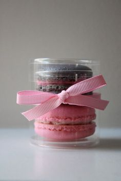 French Macaron Party Wedding Favor Cylinder Clear Box 2 French Macarons via Etsy