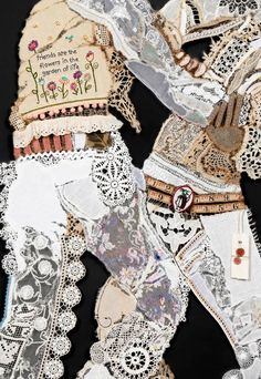 Cowboy #11 (Friends) detail.  HOW THE WEST WAS SEWN  The Lace Cowboy series presents cowboys and their guns constructed of fragments of vintage lace and other found textiles. Rendered frilly and ephemeral, they are mere shadows of their former intimidating selves.