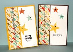 Stampin' Up! Simply Stars  Who knew I could do cards for boys??  Love how well the Simply Stars goes with the Retro Fresh DSP  Super Quick and Super Easy cards #stampinup #Occasions2014 #cardsforboys