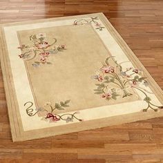 Floral Bouquet Light Gold Area Rugs