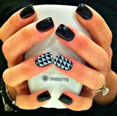 Jamberry Nails~Rock-N-Roll Nail Wrap with our Raven Nail Lacquer.