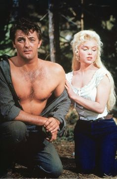 Robert Mitchum and Marilyn Monroe in 'River of No Return', 1954.