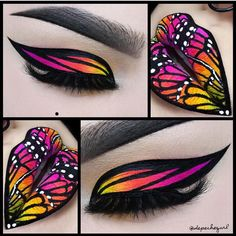 This makeup artist is incredible! Butterflies inspired by pop artist Lisa Frank by @depechegurl #hotonbeauty #hothairvids