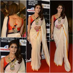 Day 2 of SIIMA Awards in Singapore saw actress Nayanthara looking stunning in a traditional saree look. She wore a custom made khadi saree in beige t. Simple Sarees, Trendy Sarees, Indian Dresses, Indian Outfits, Indian Clothes, Sari Blouse Designs, Blouse Patterns, Kurta Designs, Saree Dress