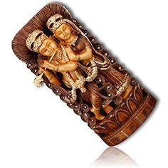 "Custom & Unique {10"" x 4"" Inch} 1 Single Medium, Home & Garden ""Standing"" Statue Figurine Decorations Made of Grade A Genuine Wood w/ Radha Krishna Hindu God Idol Decorative Style {Brown & Black}"