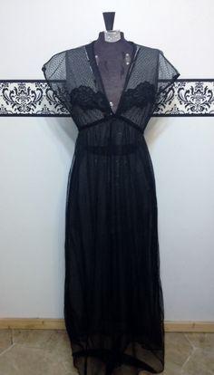 1950's Sheer Black Nightgown 50's Lingerie / by RetrosaurusRex