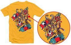 Entre Latas e Garrafas - Simulação na camiseta amarela