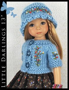 "OOAK Blue & Brown Outfit for Little Darlings Effner 13"" by Maggie & Kate Create"